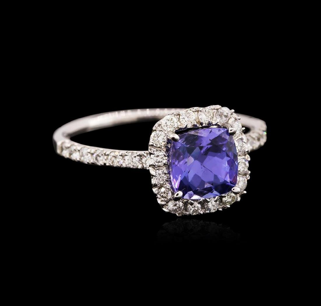 14KT White Gold 1.36 ctw Tanzanite and Diamond Ring - 2