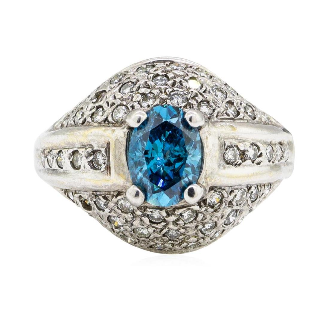 1.52 ctw Blue and White Diamond Ring - 14KT White Gold - 2