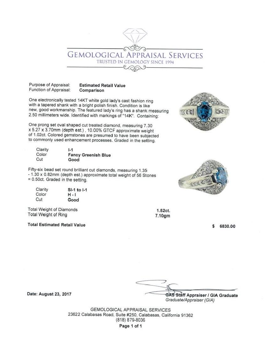 1.52 ctw Blue and White Diamond Ring - 14KT White Gold - 4