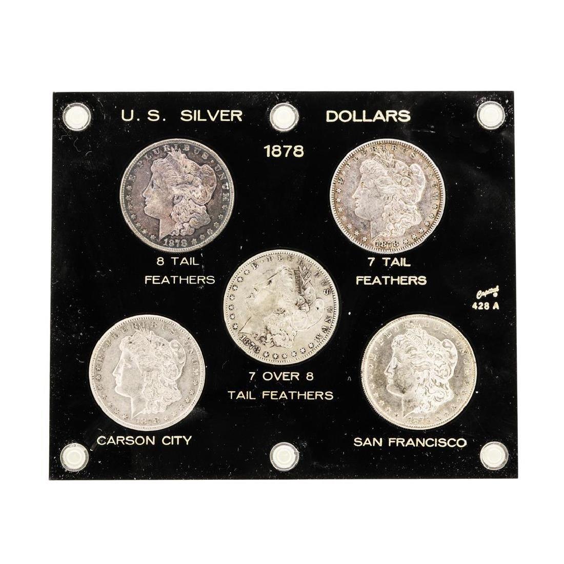 Set of (5) 1878 $1 Morgan Silver Dollar Coins -