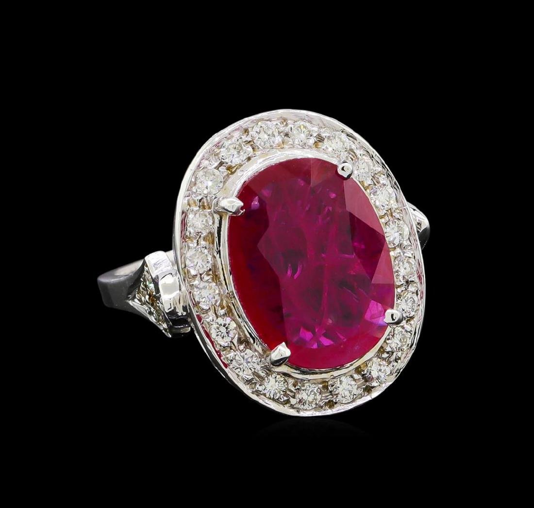 GIA Cert 4.07 ctw Ruby and Diamond Ring - 14KT White