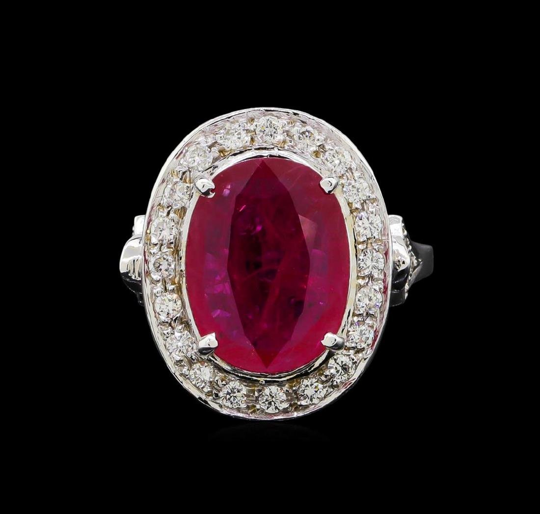 GIA Cert 4.07 ctw Ruby and Diamond Ring - 14KT White - 2