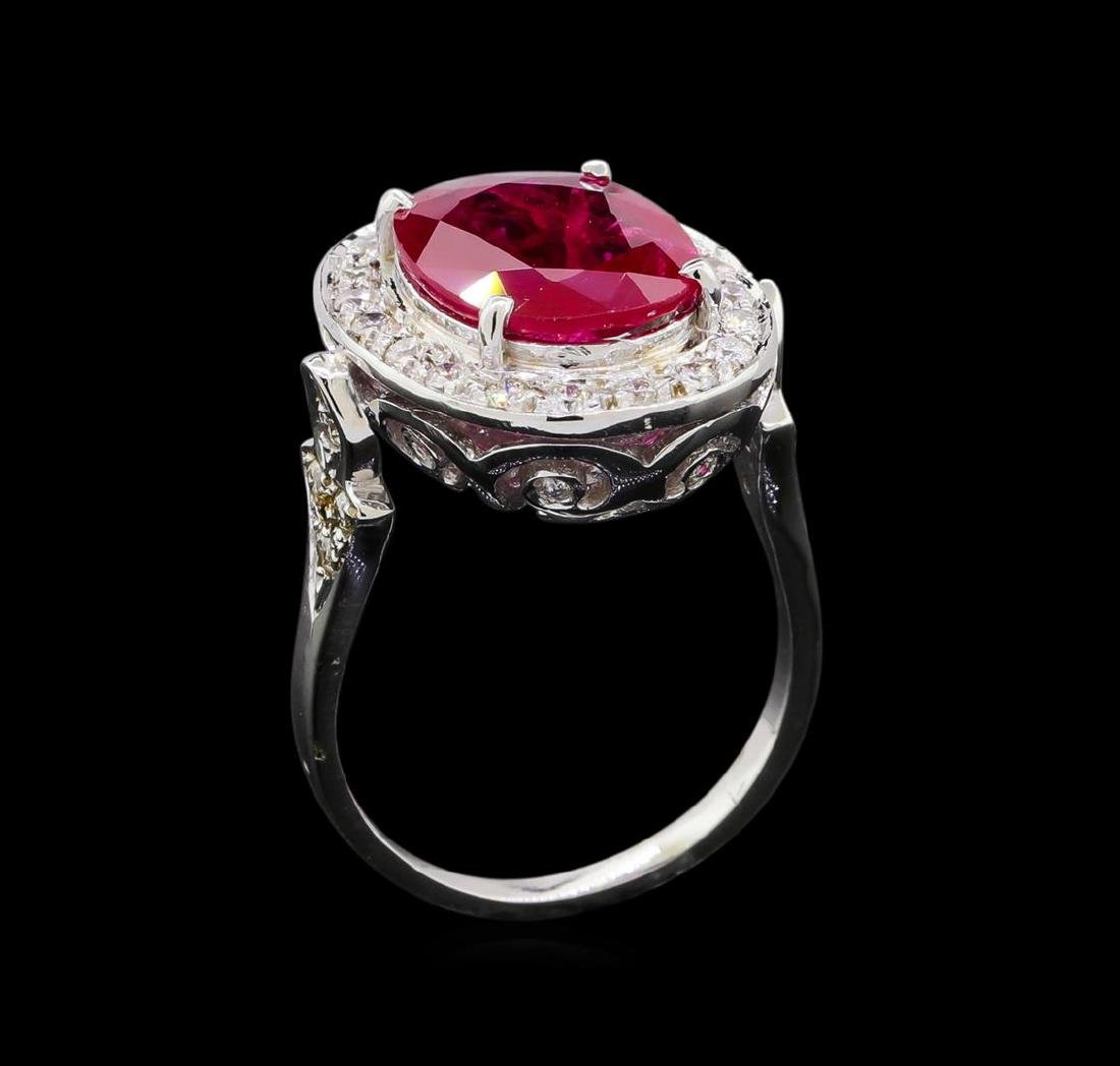 GIA Cert 4.07 ctw Ruby and Diamond Ring - 14KT White - 4