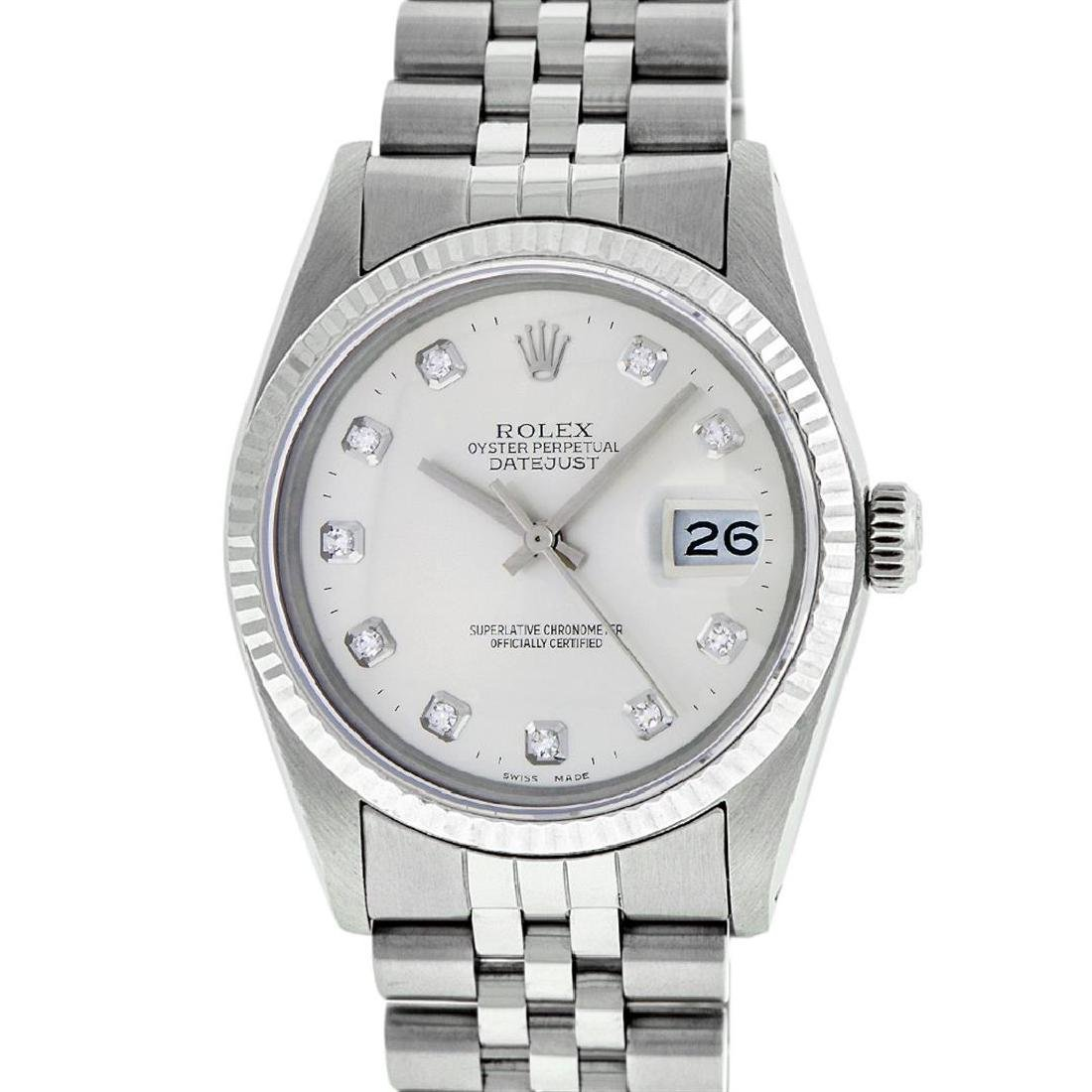 Rolex Mens Stainless Silver Diamond 36MM Datejust - 2