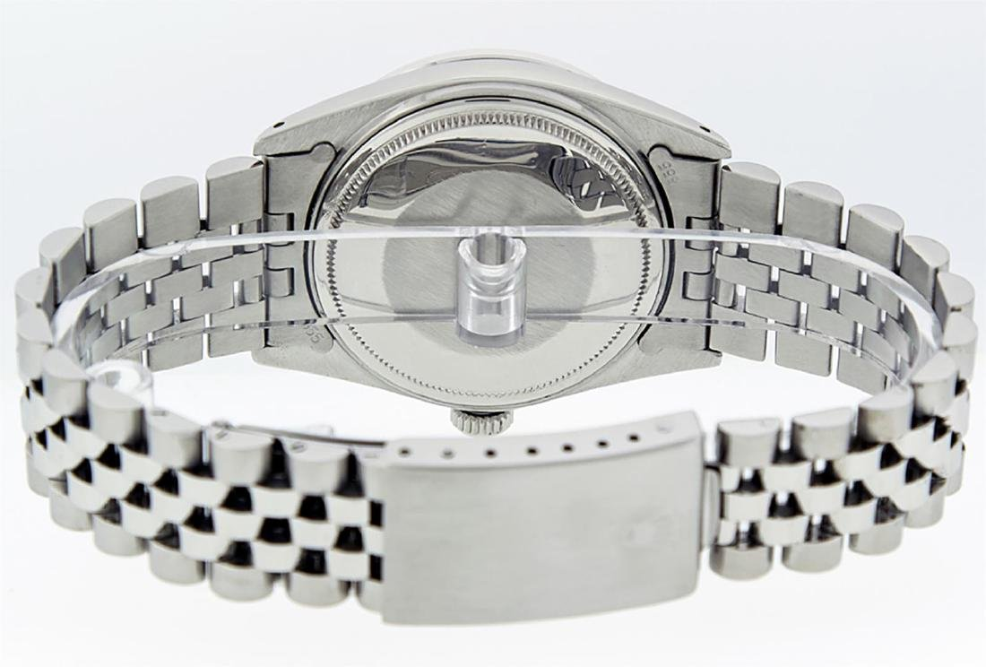 Rolex Mens Stainless Silver Diamond 36MM Datejust - 6