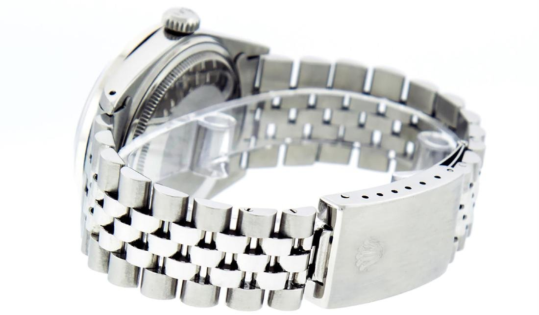 Rolex Mens Stainless Silver Diamond 36MM Datejust - 7
