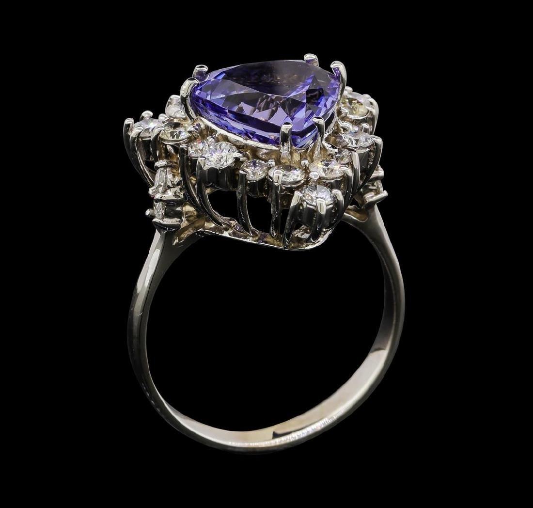 4.17 ctw Tanzanite and Diamond Ring - 14KT White Gold - 4