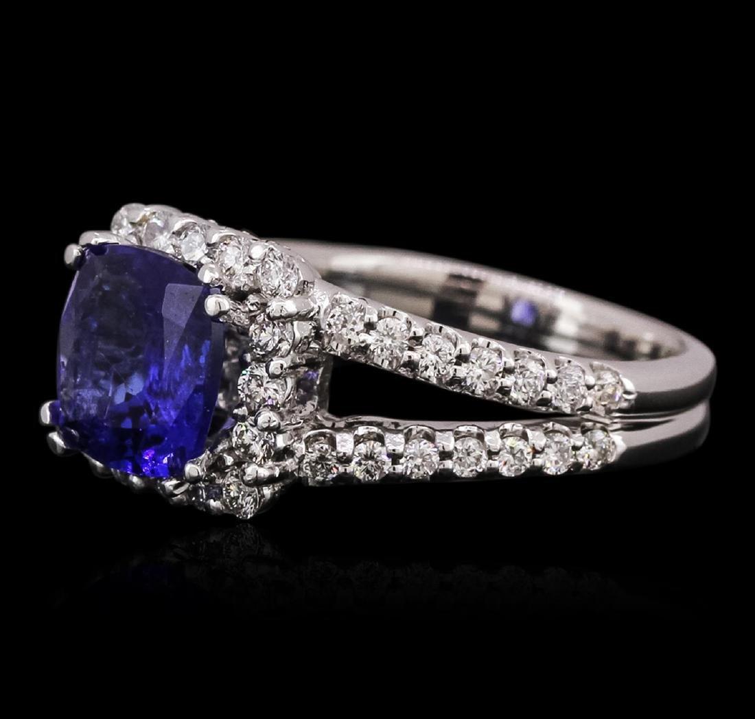 14KT White Gold 2.53 ctw Tanzanite and Diamond Ring - 2