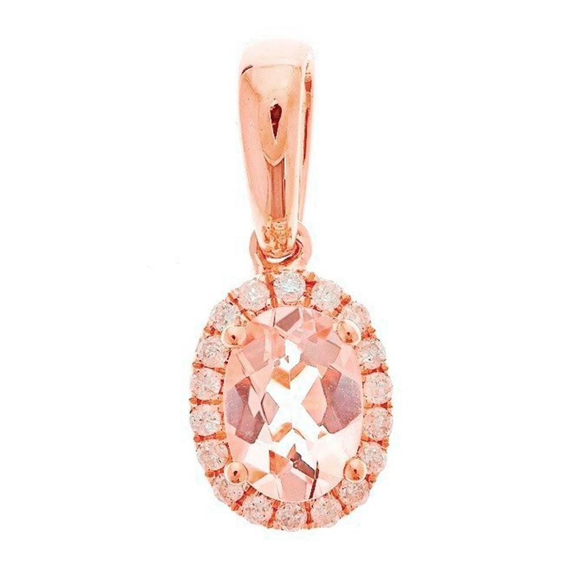 0.73 ctw Morganite and Diamond Pendant - 10KT Rose Gold