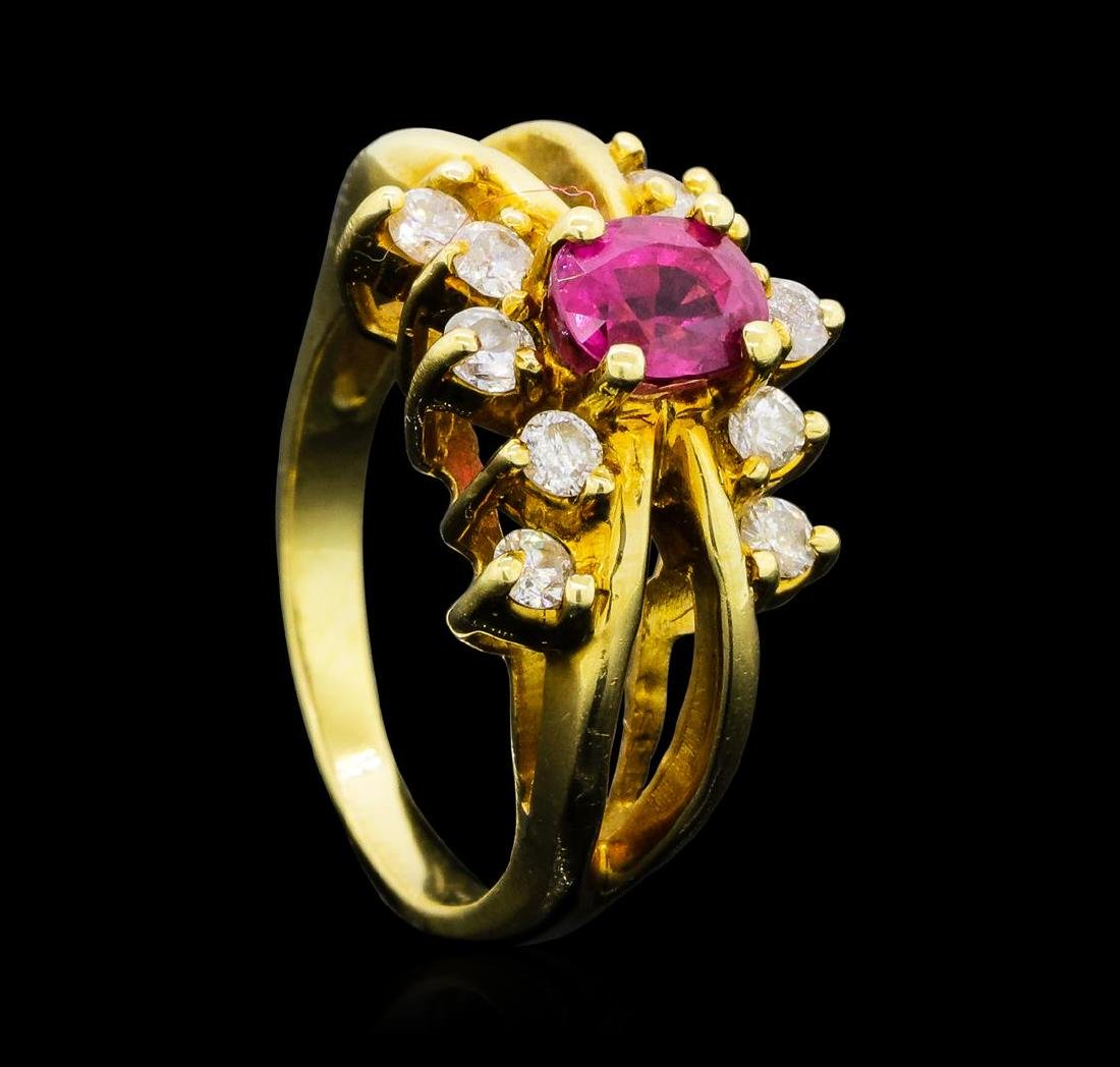 0.70 ctw Ruby and Diamond Ring - 14KT Yellow Gold - 4