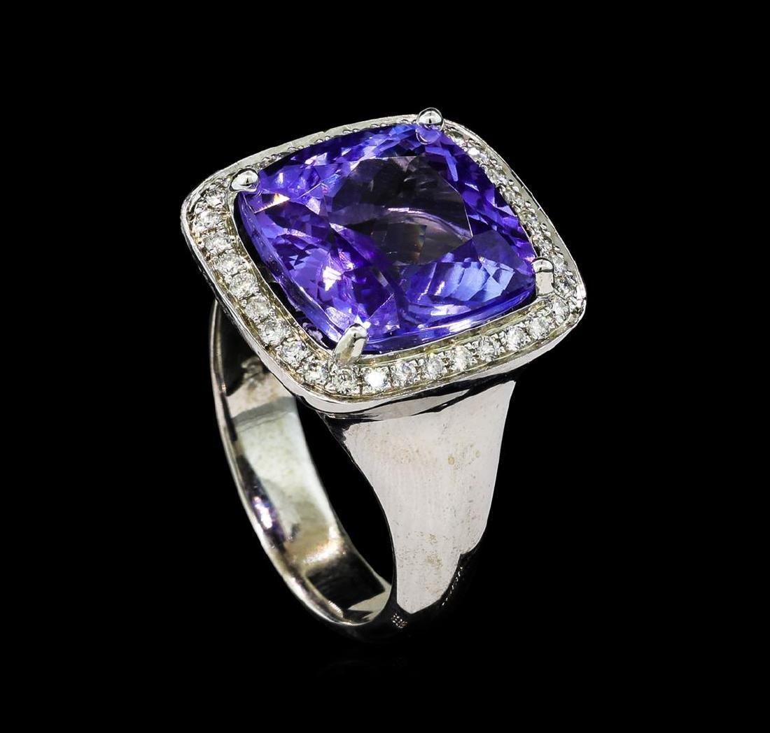 8.90 ctw Tanzanite and Diamond Ring - 14KT White Gold - 4