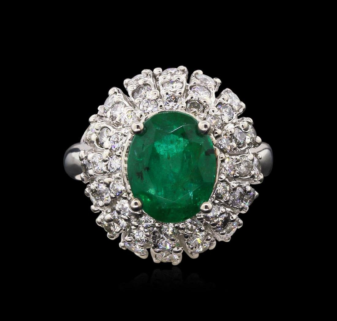 3.02 ctw Emerald and Diamond Ring - 14KT White Gold - 2