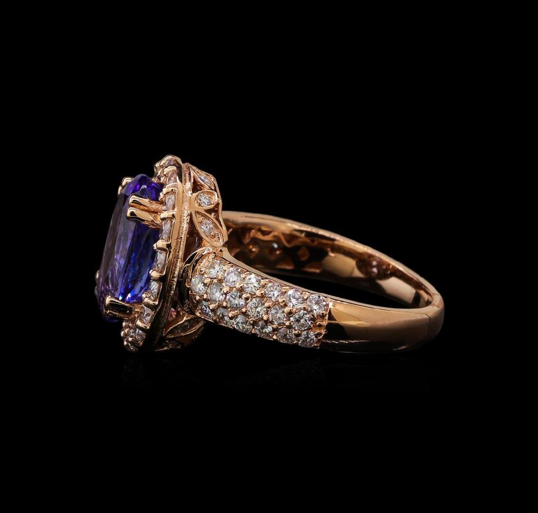 3.31 ctw Tanzanite and Diamond Ring - 14KT Rose Gold - 3