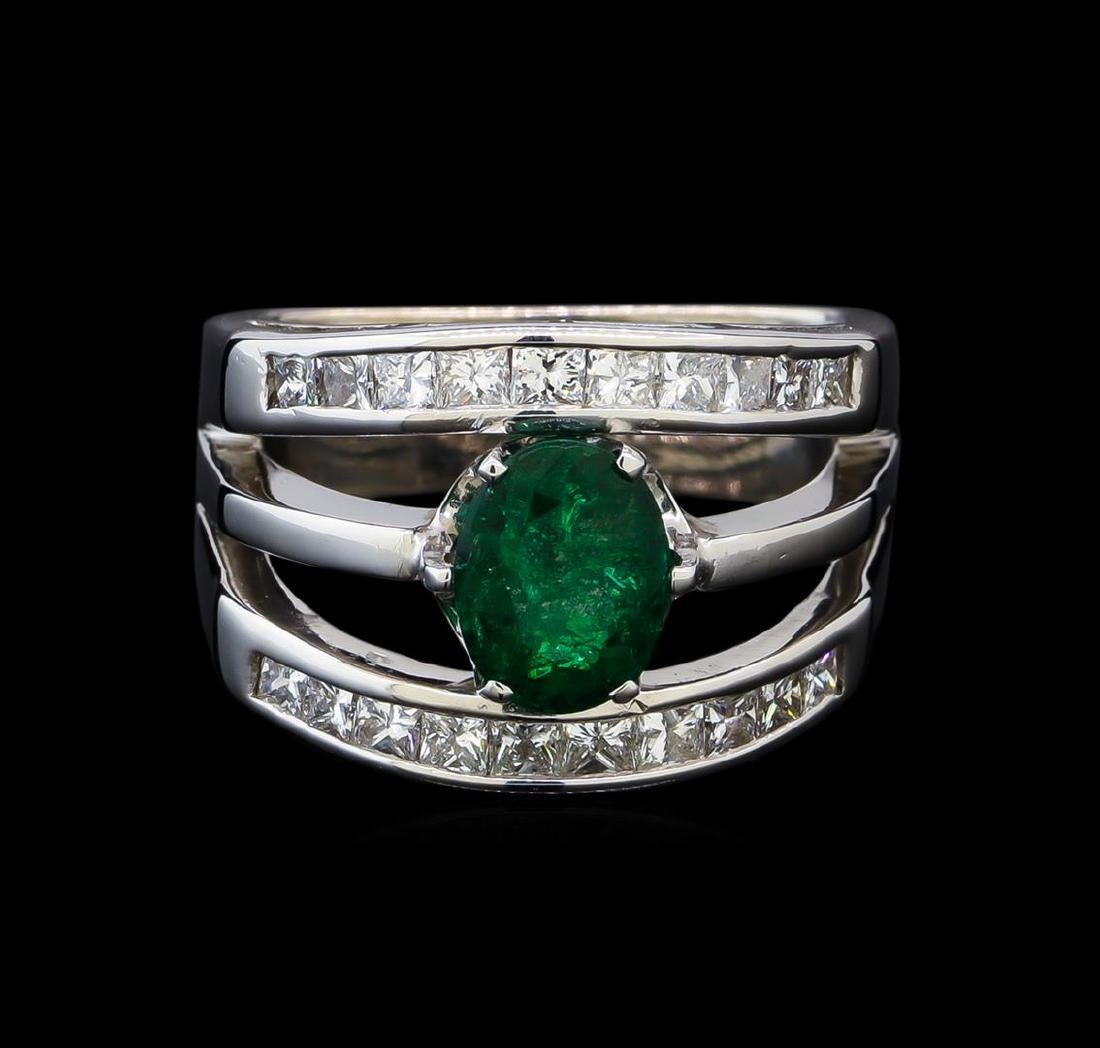 1.25 ctw Emerald and Diamond Ring - 14KT White Gold - 2