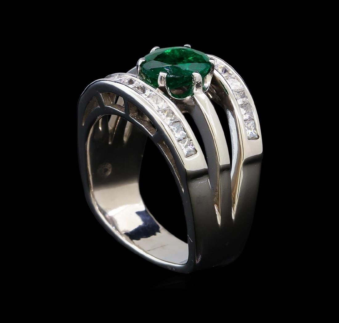 1.25 ctw Emerald and Diamond Ring - 14KT White Gold - 4