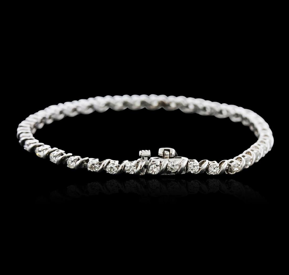 14KT White Gold 2.23 ctw Diamond Tennis Bracelet - 2