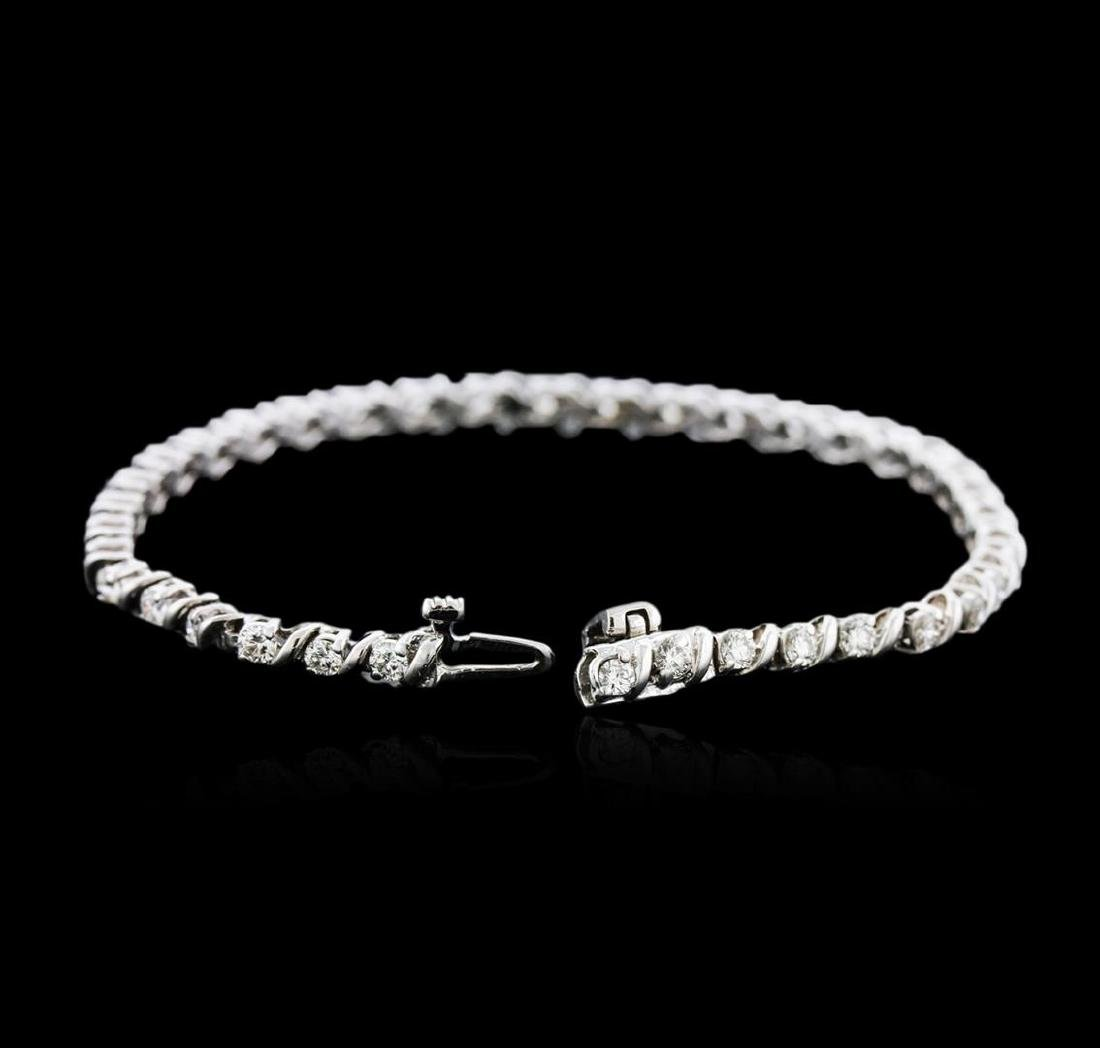 14KT White Gold 2.23 ctw Diamond Tennis Bracelet - 3