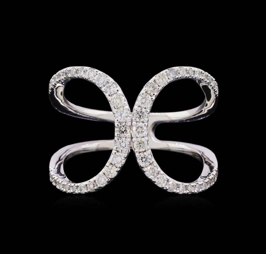 0.56 ctw Diamond Ring - 14KT White Gold - 2