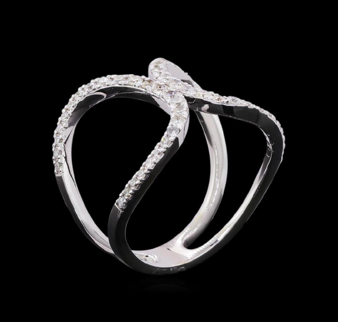 0.56 ctw Diamond Ring - 14KT White Gold - 4