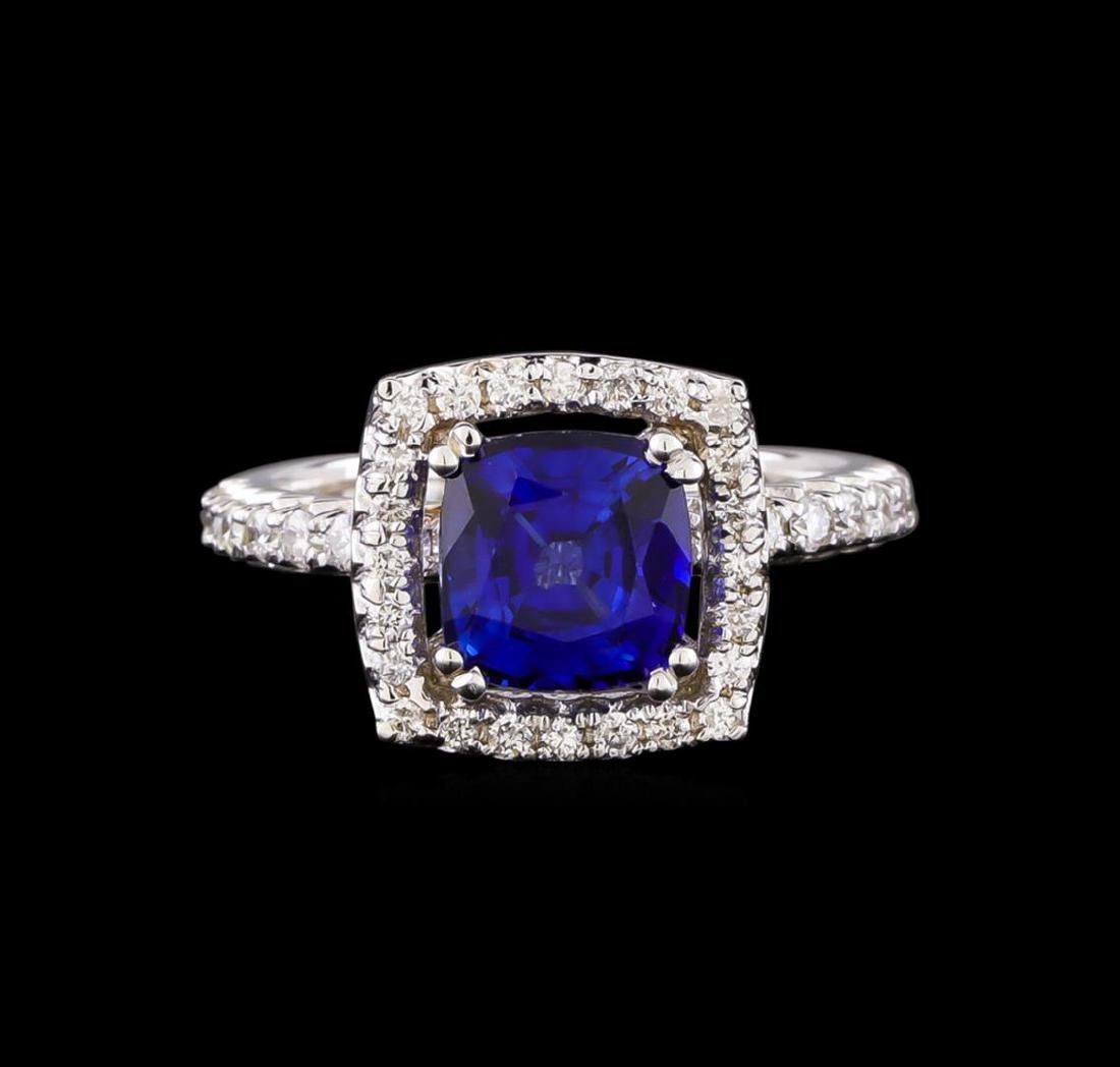 14KT White Gold 3.03 ctw Sapphire and Diamond Ring - 2