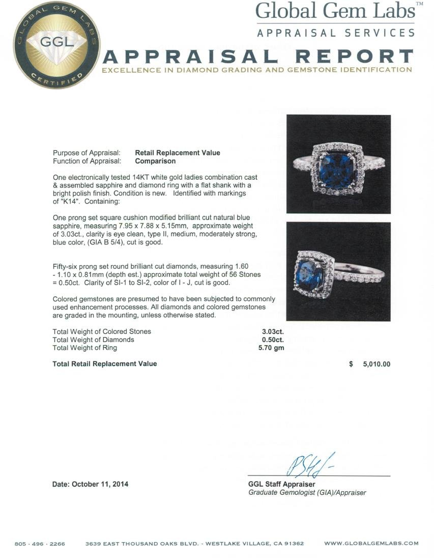 14KT White Gold 3.03 ctw Sapphire and Diamond Ring - 5