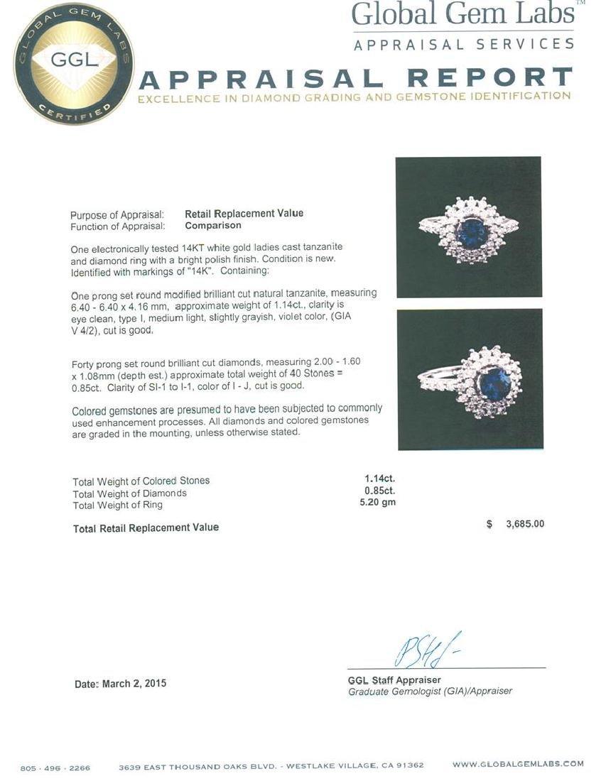 14KT White Gold 1.14 ctw Tanzanite and Diamond Ring - 5