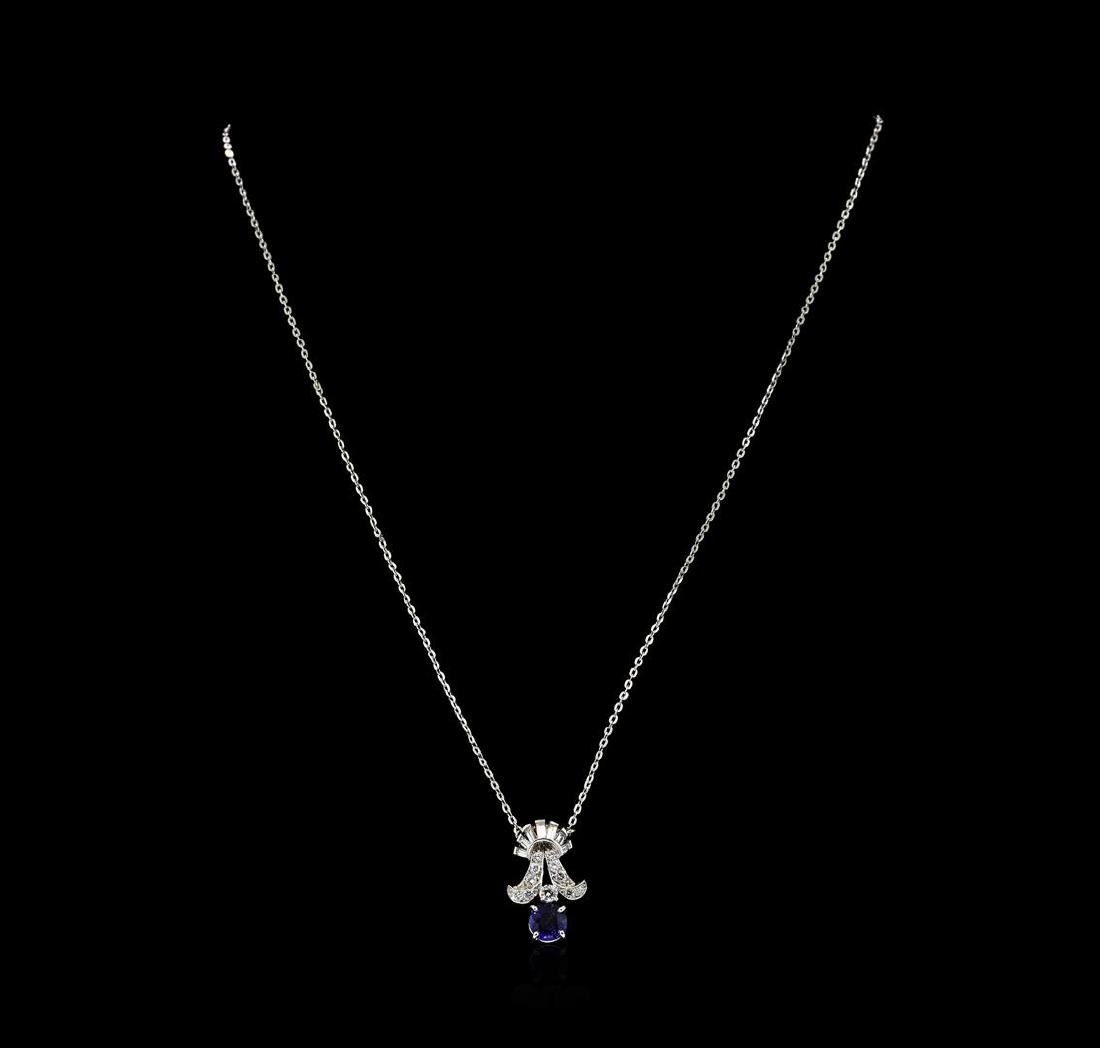 1.00 ctw Sapphire and Diamond Pendant With Chain - - 2