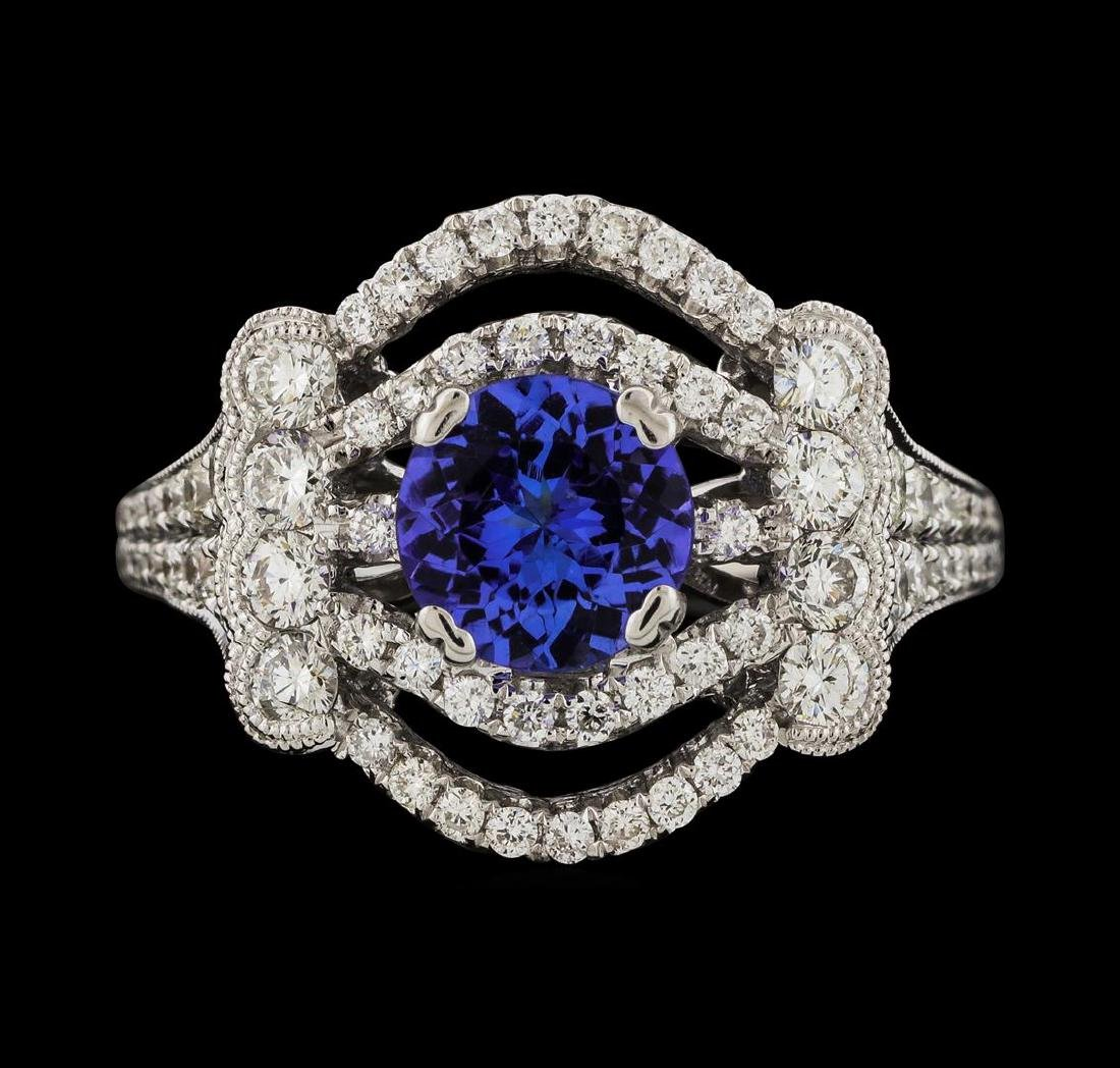 1.32 ctw Tanzanite and Diamond Ring - 18KT White Gold - 2