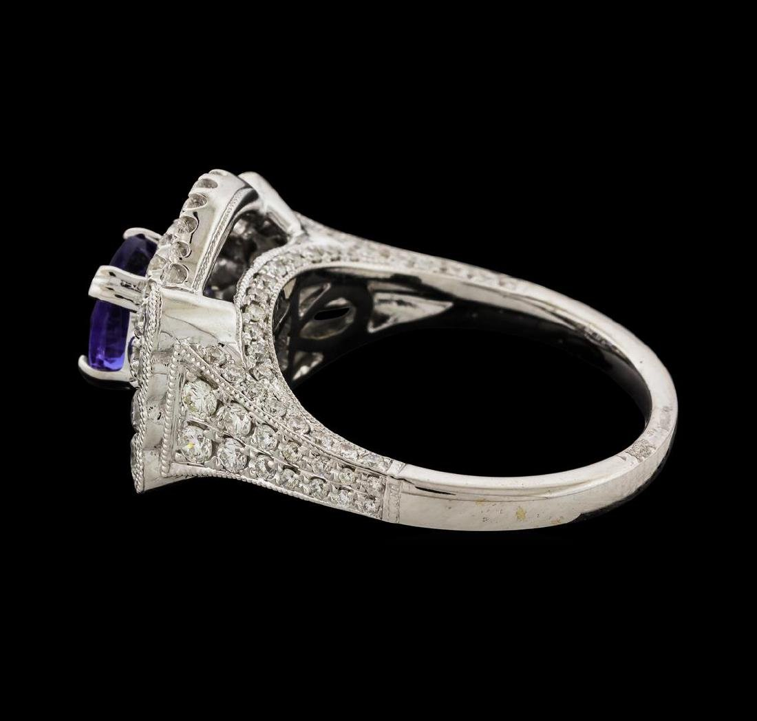 1.32 ctw Tanzanite and Diamond Ring - 18KT White Gold - 3