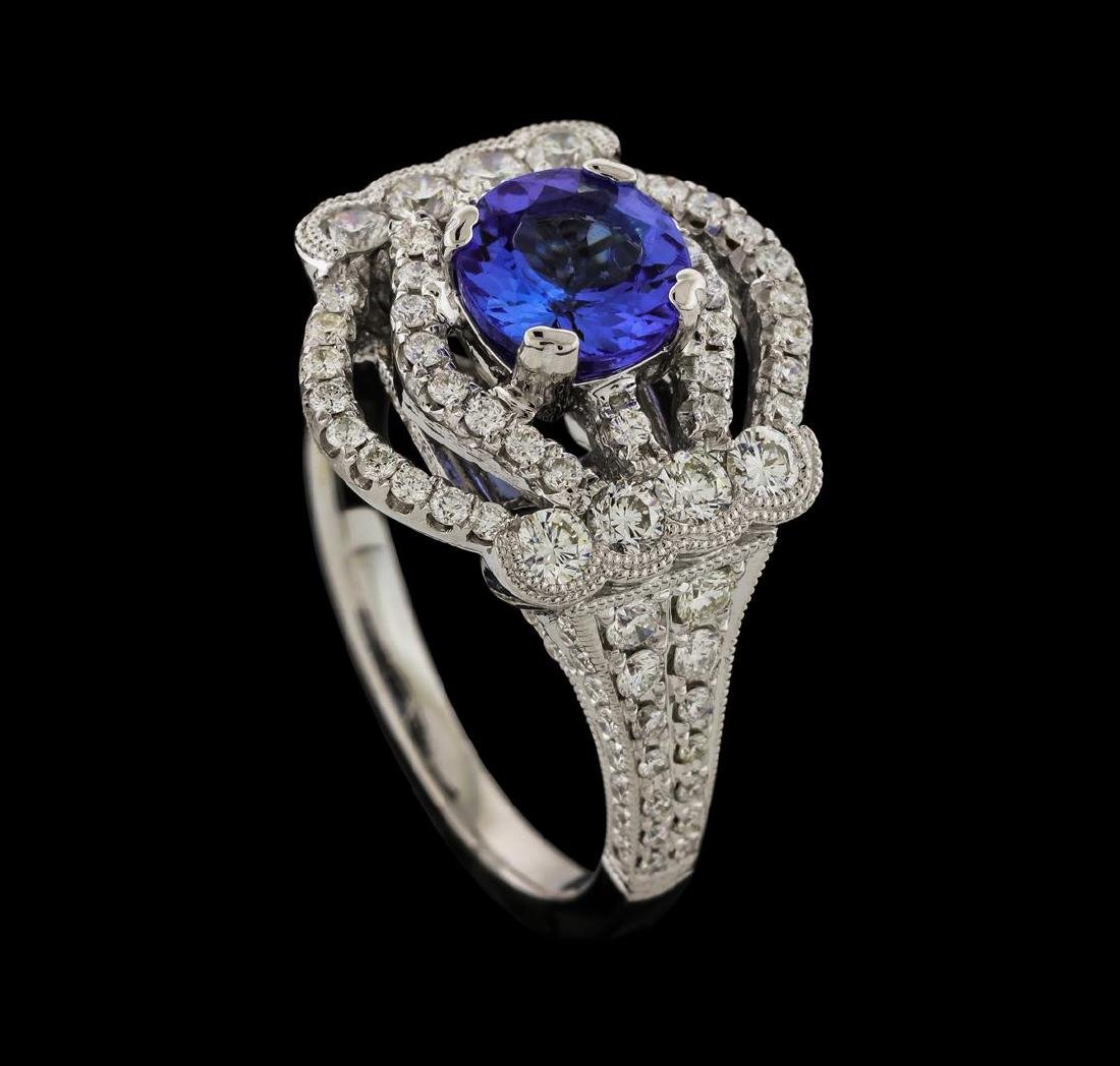 1.32 ctw Tanzanite and Diamond Ring - 18KT White Gold - 4
