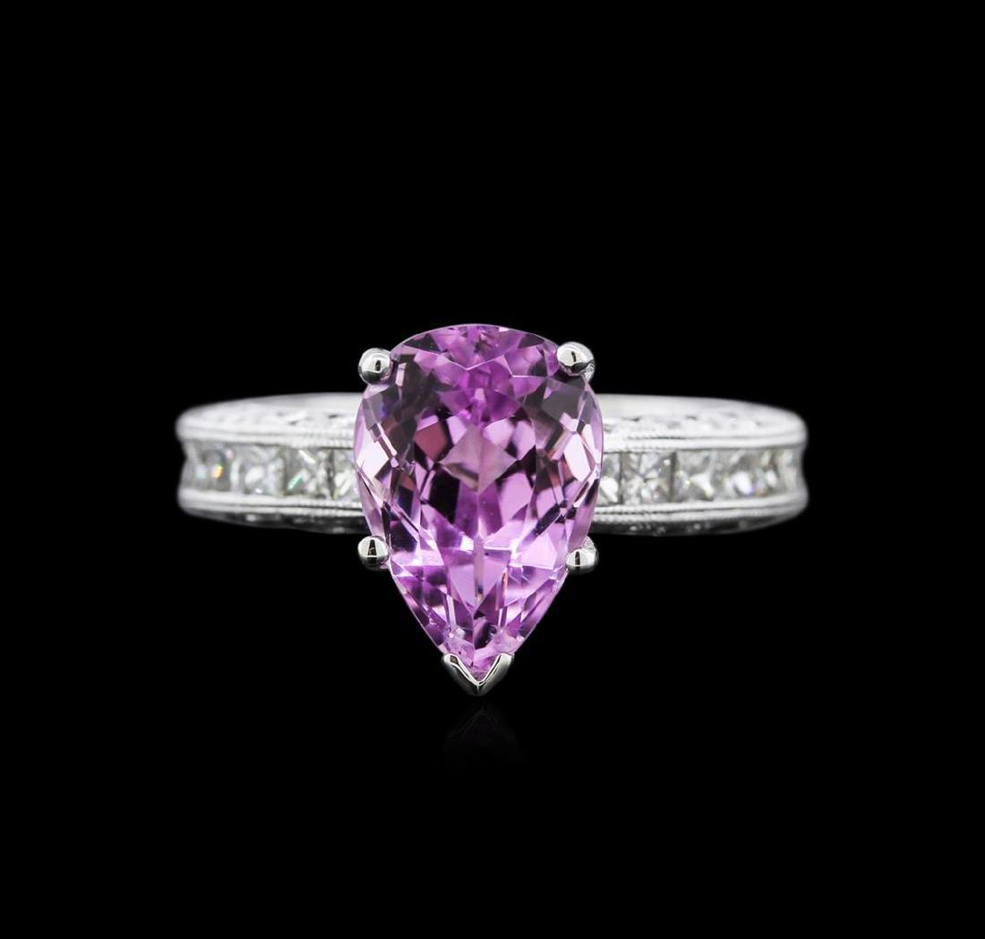 3.17 ctw Kunzite and Diamond Ring - 14KT White Gold - 2