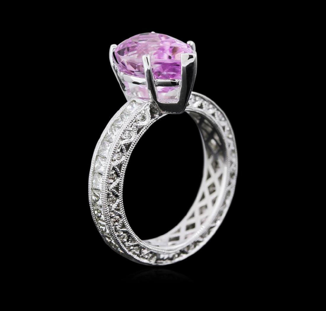 3.17 ctw Kunzite and Diamond Ring - 14KT White Gold - 3