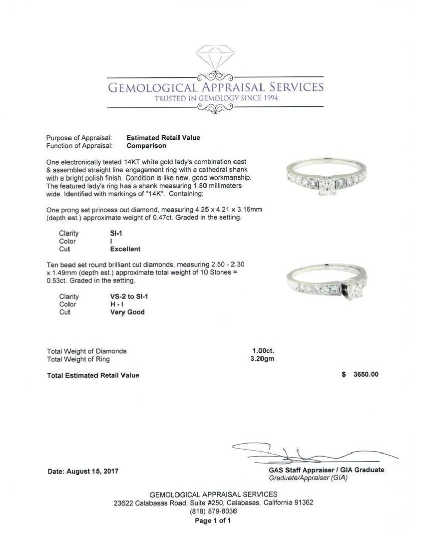 1.00 ctw Diamond Ring - 14KT White Gold - 5