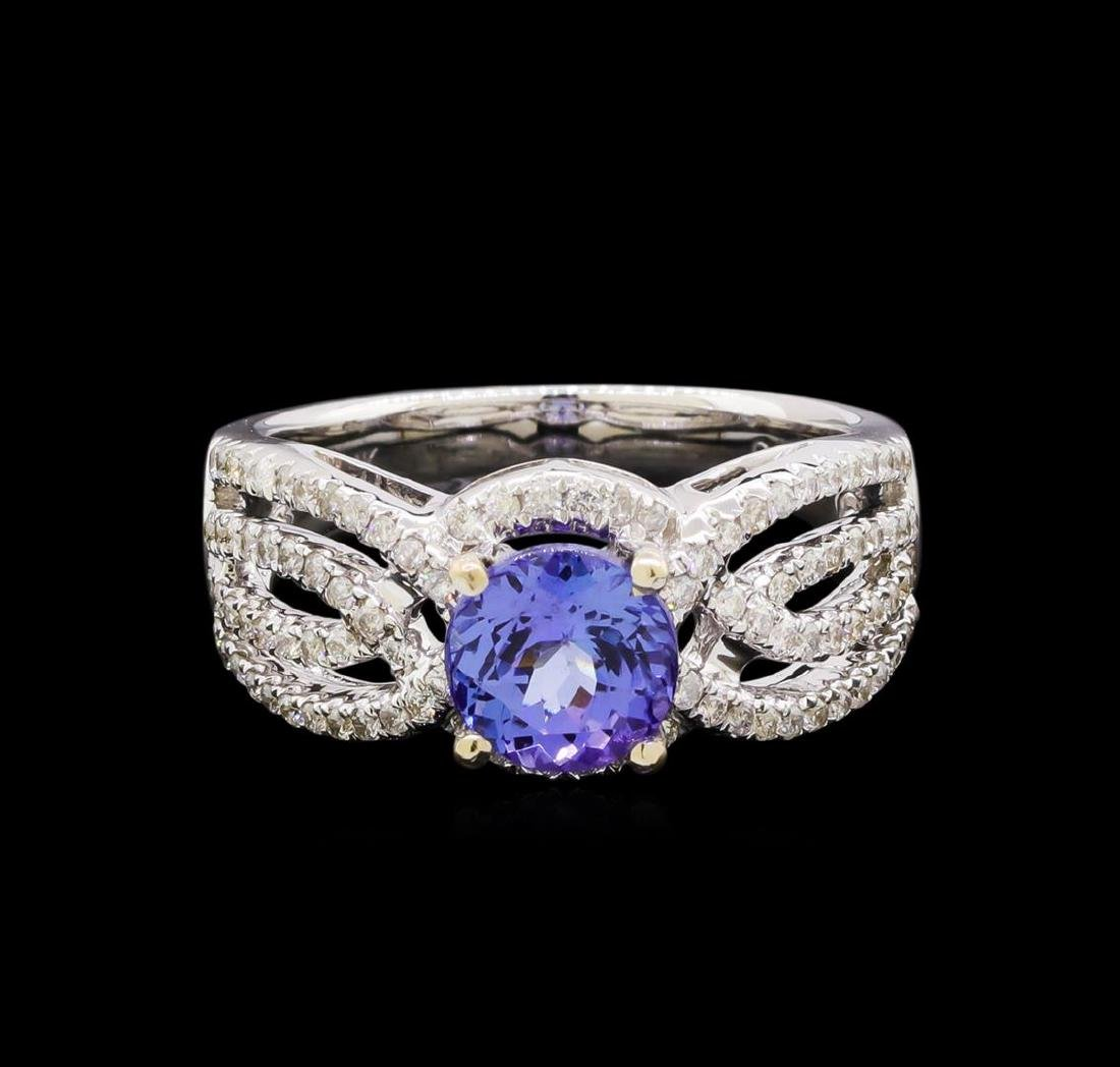 1.56 ctw Tanzanite and Diamond Ring - 14KT White Gold - 2