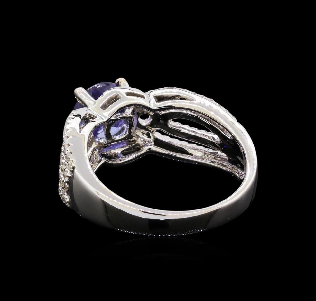 1.56 ctw Tanzanite and Diamond Ring - 14KT White Gold - 3