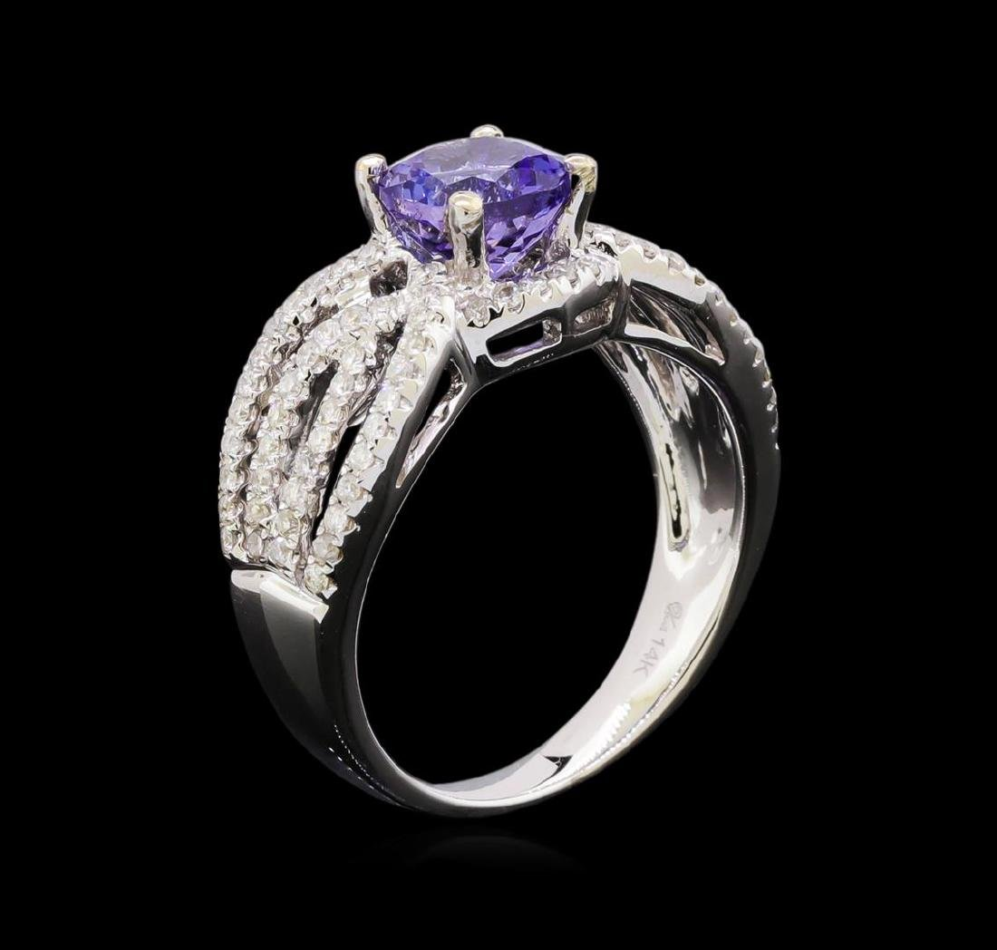 1.56 ctw Tanzanite and Diamond Ring - 14KT White Gold - 4