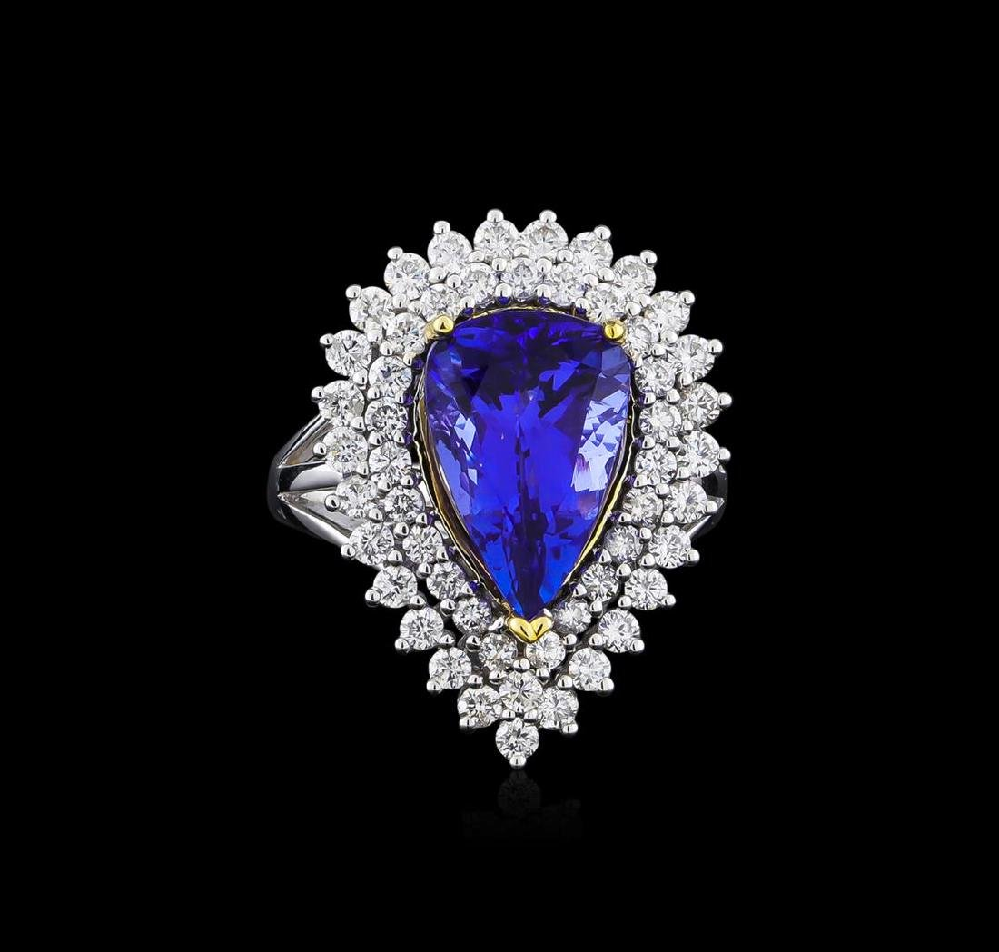 14KT Two-Tone Gold 4.13 ctw Tanzanite and Diamond Ring - 2