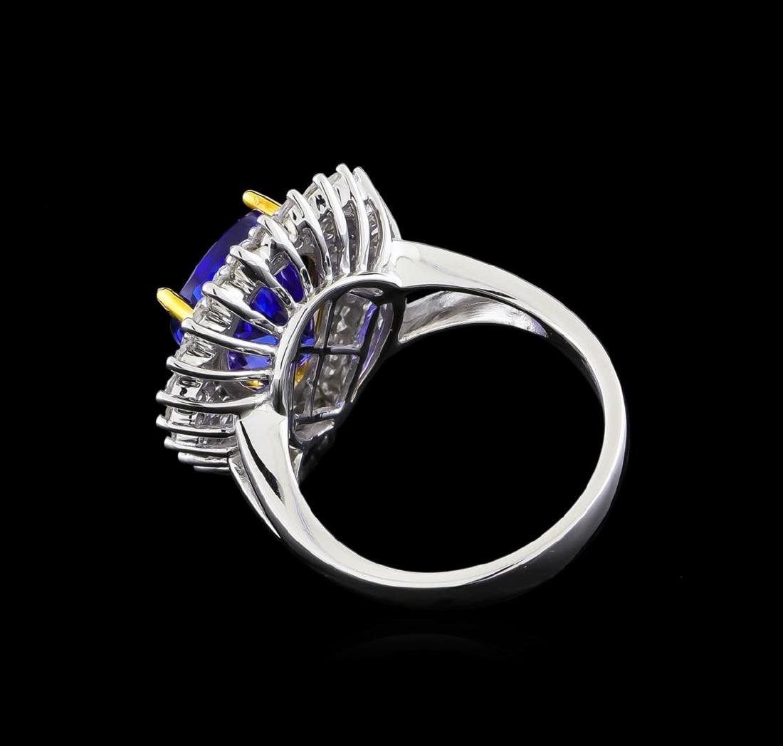 14KT Two-Tone Gold 4.13 ctw Tanzanite and Diamond Ring - 3