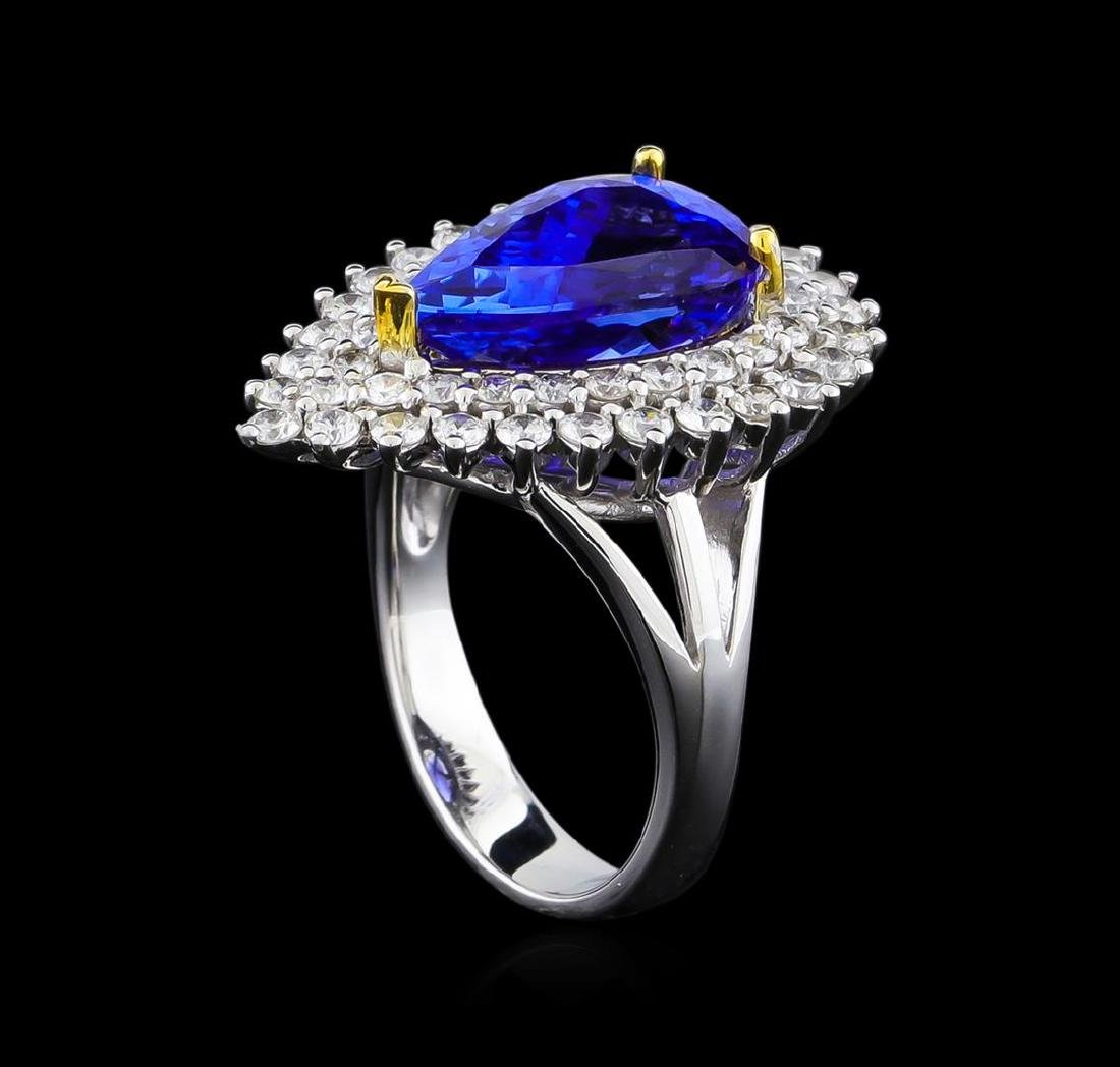 14KT Two-Tone Gold 4.13 ctw Tanzanite and Diamond Ring - 4