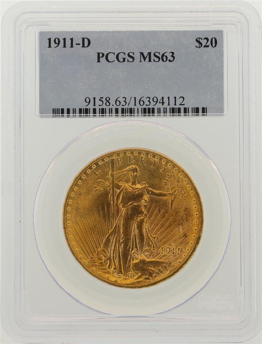 1911-D $20 St. Gaudens Double Eagle Gold Coin PCGS MS63
