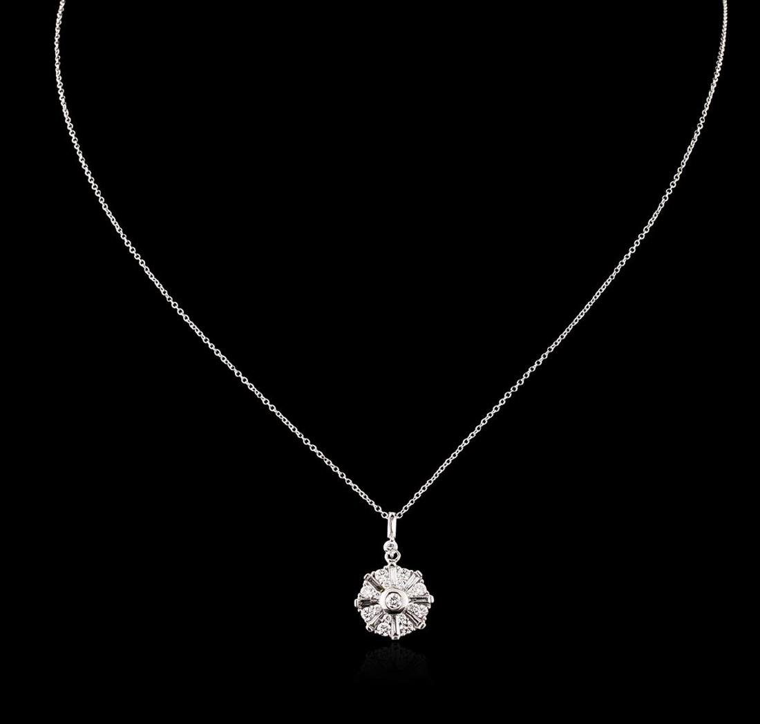 14KT White Gold 1.00 ctw Diamond Pendant With Chain - 2