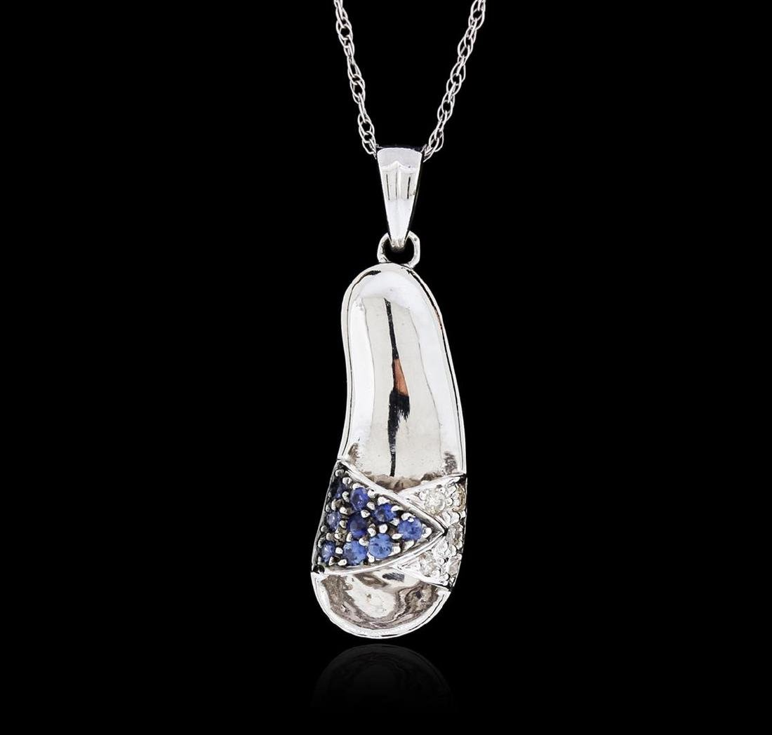 14KT White Gold 0.10 ctw Sapphire and Diamond Pendant