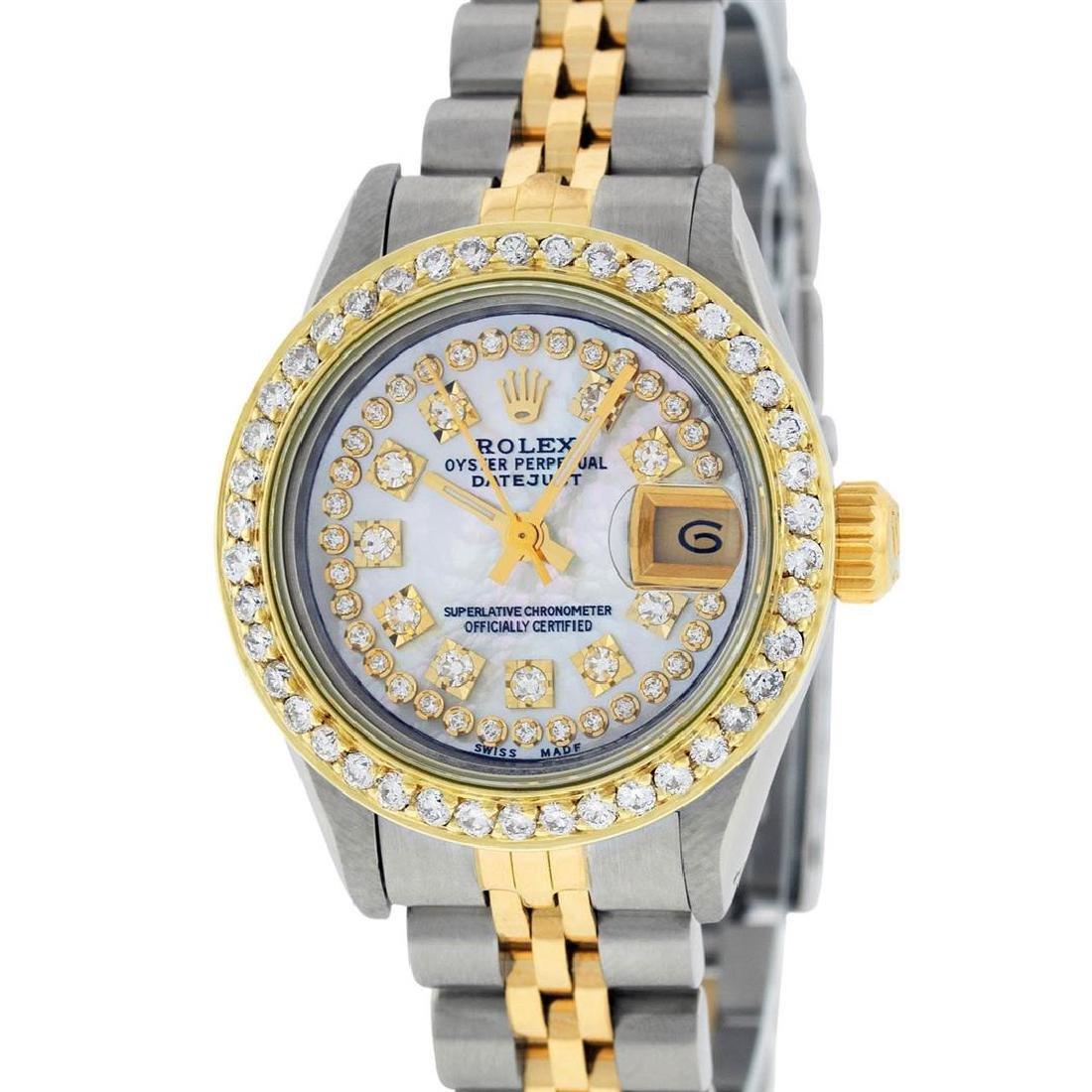 Rolex Ladies 2 Tone Mother Of Pearl String Diamond