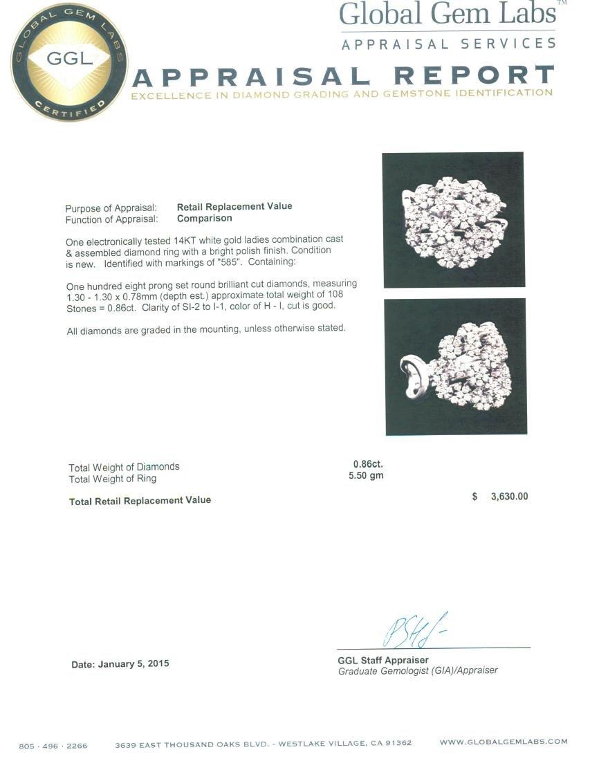 14KT White Gold 0.86 ctw Diamond Ring - 5
