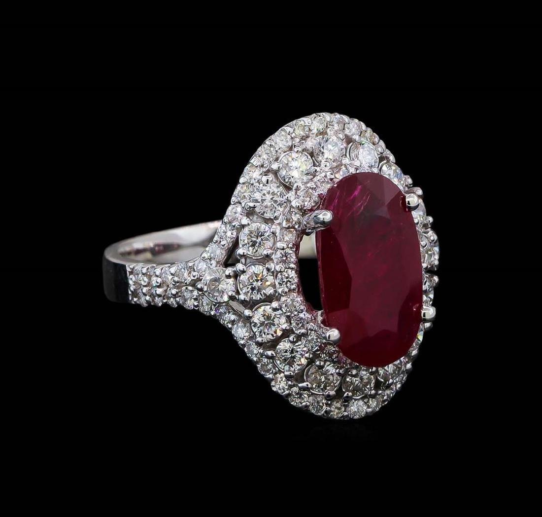 GIA Cert 3.39 ctw Ruby and Diamond Ring - 14KT White