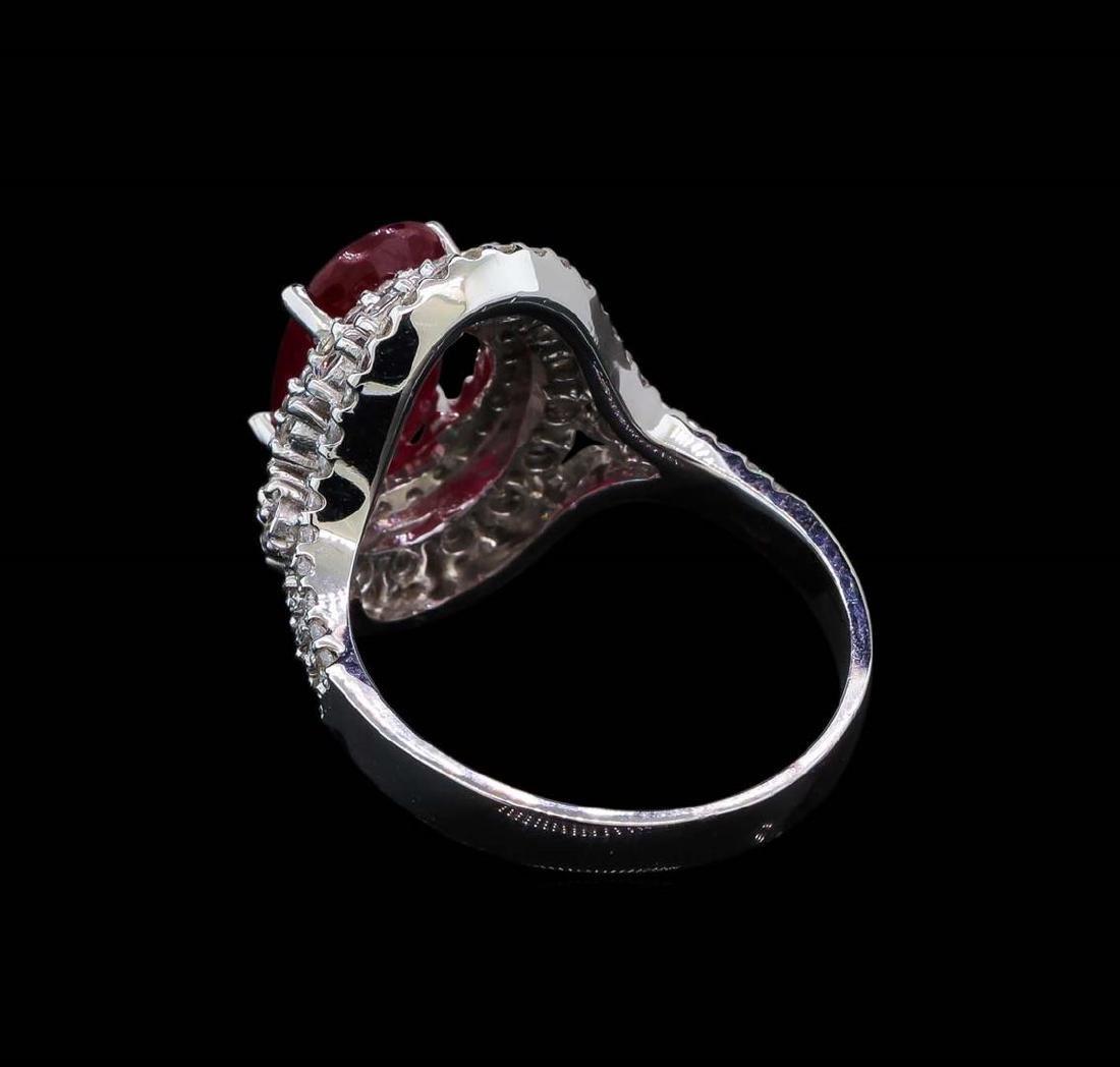 GIA Cert 3.39 ctw Ruby and Diamond Ring - 14KT White - 3