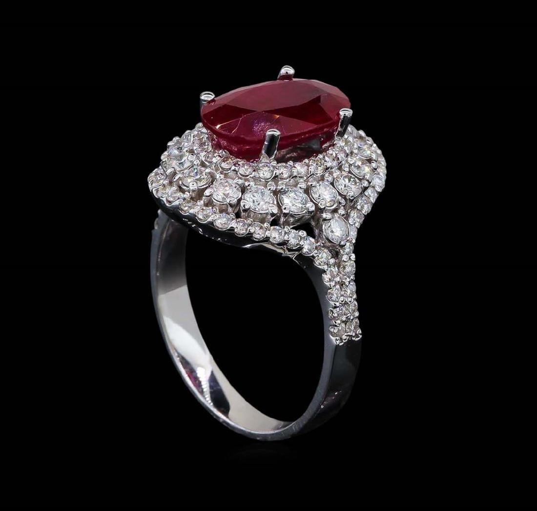 GIA Cert 3.39 ctw Ruby and Diamond Ring - 14KT White - 4