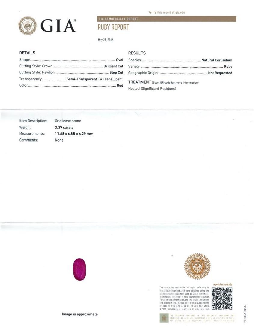 GIA Cert 3.39 ctw Ruby and Diamond Ring - 14KT White - 6
