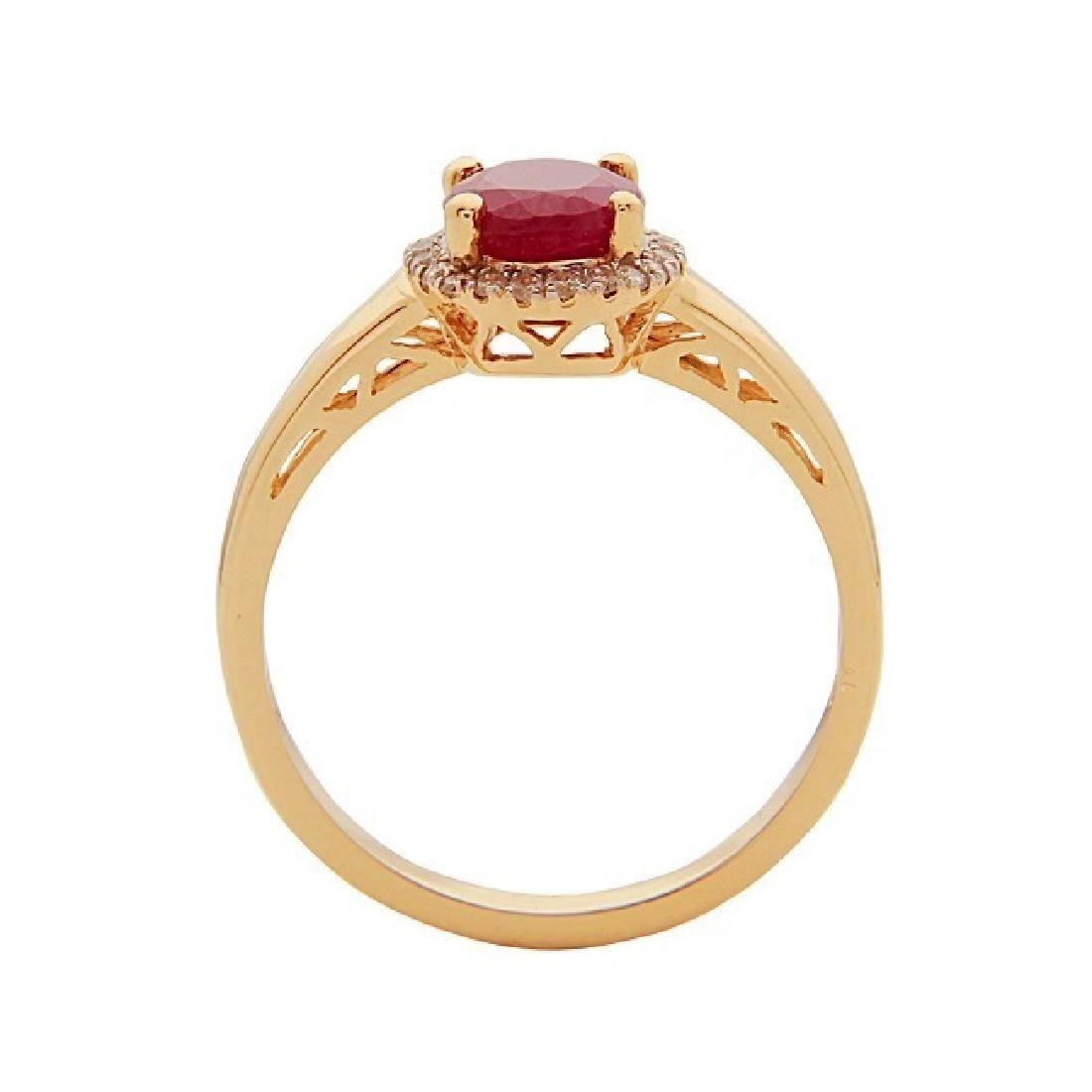 1.7 ctw Ruby and Diamond Ring - 10KT Yellow Gold - 2