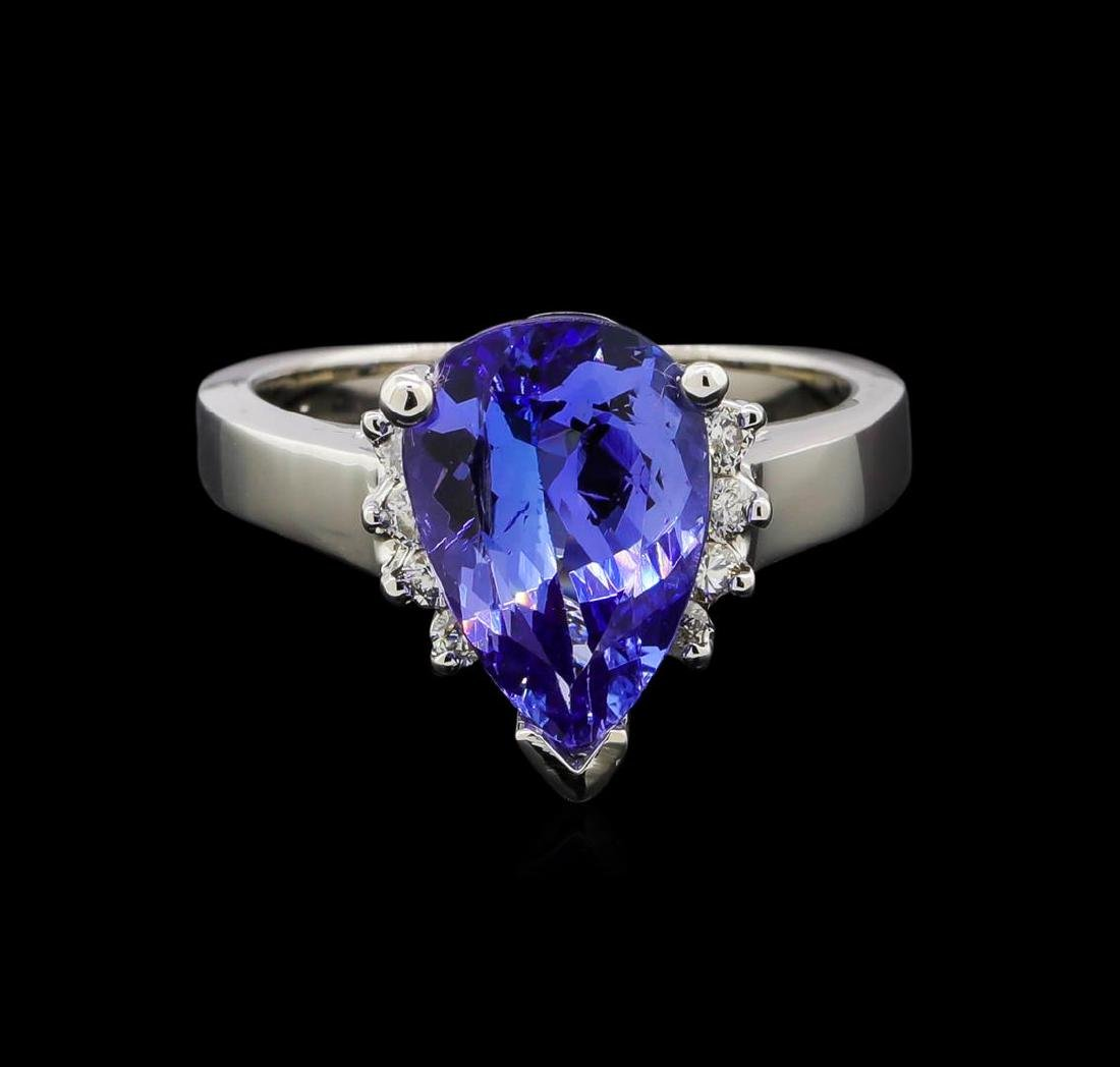 3.62 ctw Tanzanite and Diamond Ring - 14KT White Gold - 2